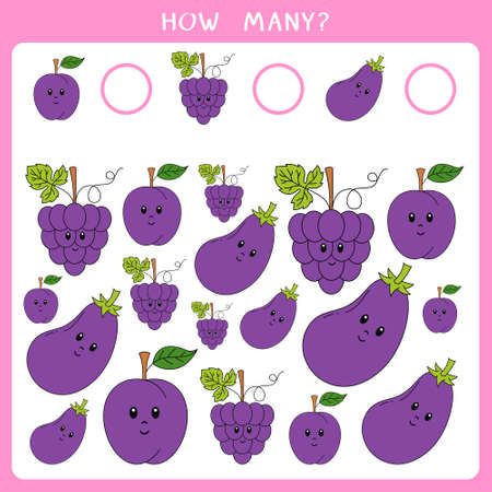 Educational math game for kids. Count how many plum, grapes and eggplant and write the result. Vector worksheet
