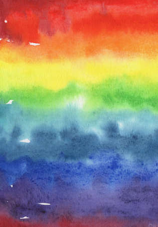 Hand painted watercolor abstract rainbow gradient background for your design Stock Photo
