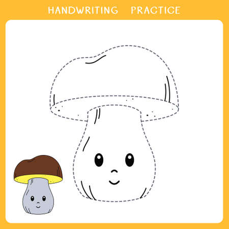 Handwriting practice sheet. Simple educational game for kids. Vector illustration of cute mushroom for coloring book Illustration
