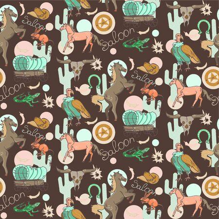 scavenger: Wild west pattern includes: two horses, bulls skull, cart, lizard, cowboys hat, sheriffs badge, scavenger, cactus, horseshoe.