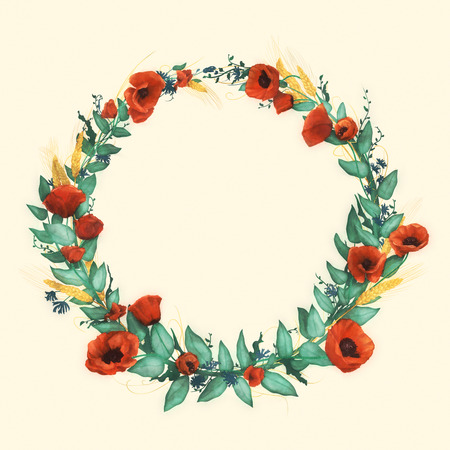Watercolor wild red poppies, wheat, cornflowers and cold green leaves in wreath on a light background