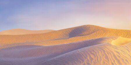 Desert dunes in a sunset