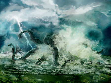 Illustration of a Kraken or giant octopus in the storm, spindrift near seashore