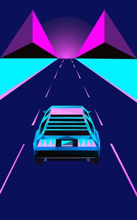 Colorful polygonal style design of cyberpunk car on the highway in blue and pink colors