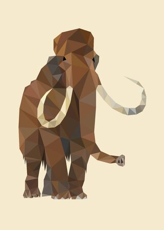 Colorful polygonal style design of ice age mammoth Illustration