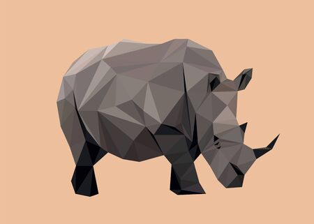 Colorful polygonal style design of wild rhinoceros in grey colors