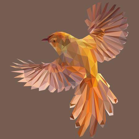 Colorful polygonal style design of flying orange gold bird Illustration