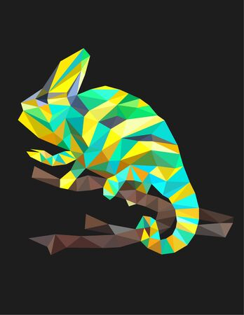 Colorful polygonal style design of wild reptile chameleon Illustration