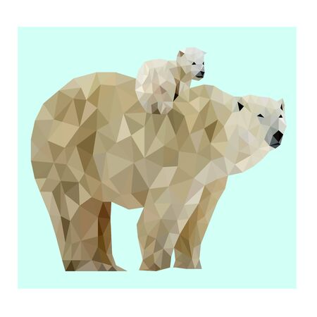 Low poly vector polar bear image
