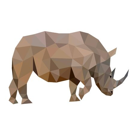 Polygon vector cute wild strong rhino