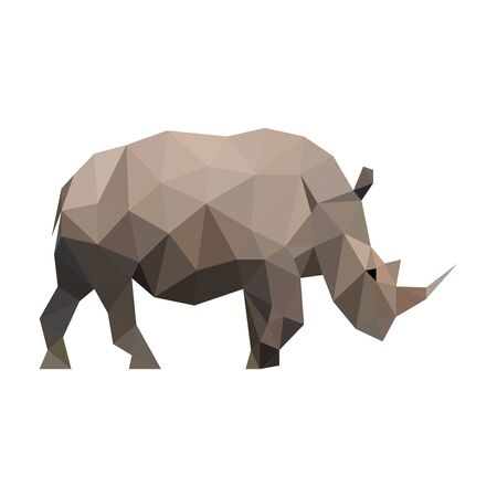 Polygon vector line wild rhino 向量圖像