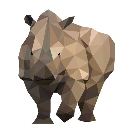 Low poly wild vector rhino artwork