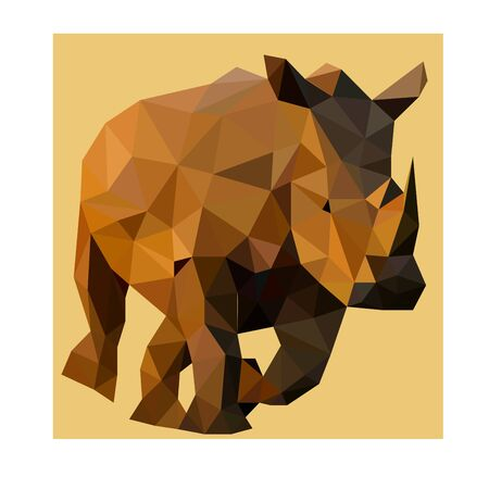 Low poly wild vector safari rhino