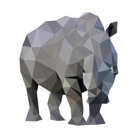 Low poly wild vector rhino art