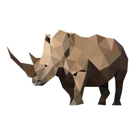 Polygons vector lines wild rhino
