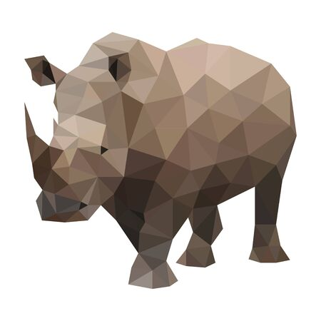 Low poly wild vector rhino