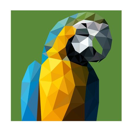 Polygonal wild blue and yellow parrot