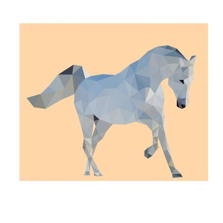 Polygon triangle vector white horse