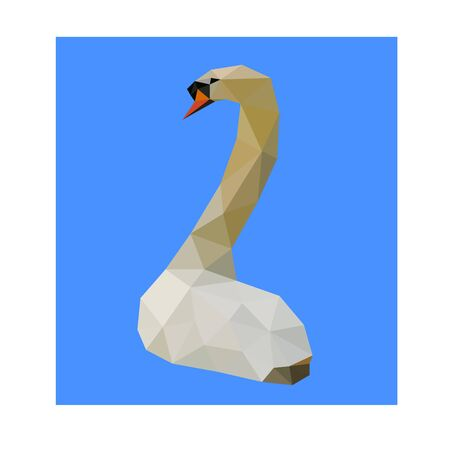 Low poly illustration of swan