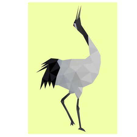 Low poly illustration of crane Standard-Bild - 129151020