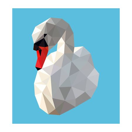 Low poly wild vector swan