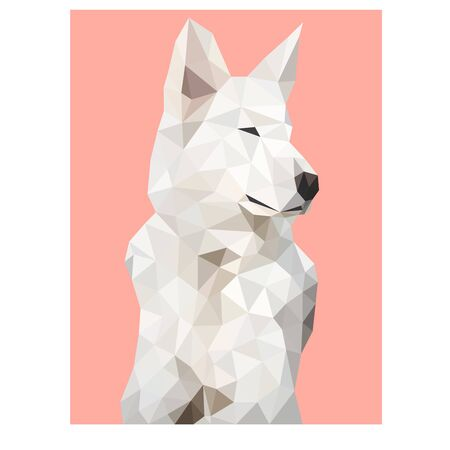 Low poly wild vector dog Archivio Fotografico - 129151131