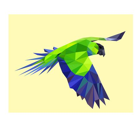 Low poly illustration of blue and green parrot Stock Illustratie