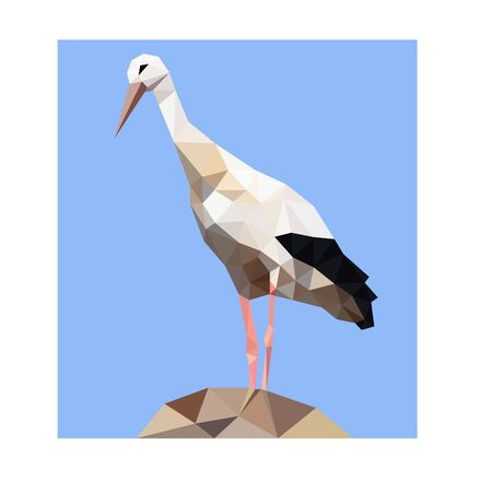 Low poly illustration of stork Standard-Bild - 129151188