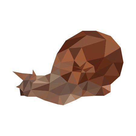 Low poly illustration of snail 일러스트