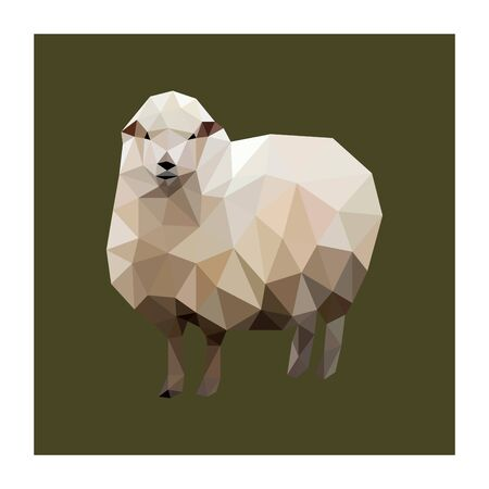 Colorful polygonal style design of sheep Çizim
