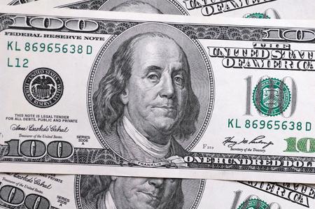 Dollars closeup. Benjamin Franklin's portrait on a  bill.