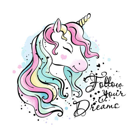 Art. Fashionable ink and watercolor style. Unicorn drawing. Follow your dreams. Text. Fashion illustration drawing in modern style for clothes.