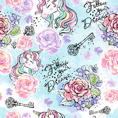 Art. Fashionable ink and watercolor pattern with unicorns rose and violets. Unicorn drawing. Follow your dreams. Text.