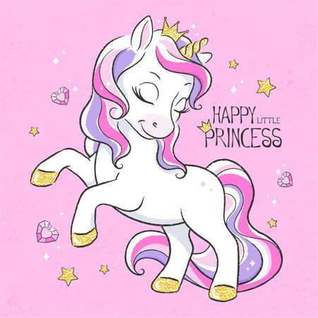 Art. Unicorn princess. Cute unicorn. Digital illustration. Fashion print in modern style. Happy little princess.