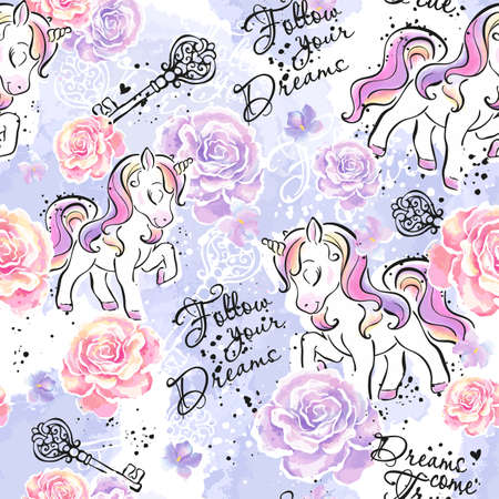 Art. Unicorn pattern. Fashionable ink and watercolor pattern for clothes or fabrics on a lilac background