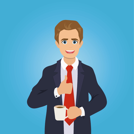 Businessman gives the thumbs up, drinking coffee, break time. Office worker standing and smiling. Illustration