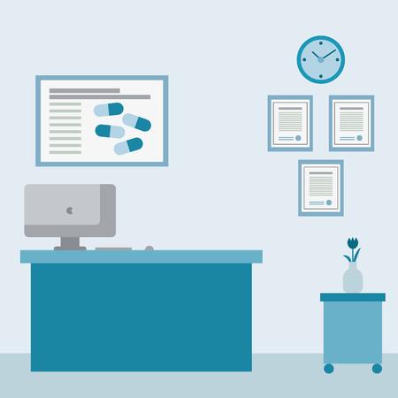 Medical examination or medical interior room, surgery, hospital ward. Healthy care flat design vector illustration 向量圖像
