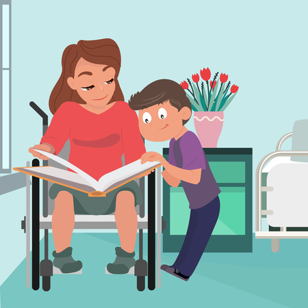 School boy caring about his mother in wheelchair who is temporarily disabled and recovering. Boy reads a book for mom. Handicapped person socialization and help. Flat cartoon vector illustration.