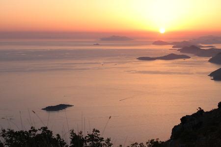 Sunset over the Adriatic Sea Croatia in summer. Stock Photo