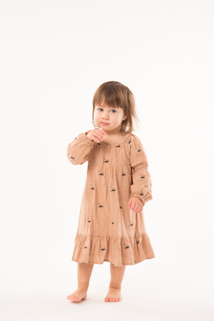 Cute little girl in beige dress isolated on white background. Portrait of happy little girl on white background. Sweet girl with curly hair.