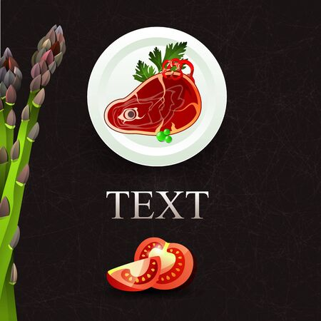 asparagus: Vector culinary background with asparagus and tomato. Dish with meat, peas and parsley. Space for text and recipes. Vector illustration Illustration