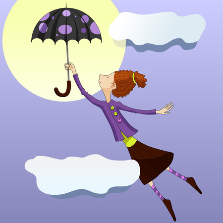 sitter: Mary Poppins flies on an umbrella in the sky. Vector illustration in purple colors