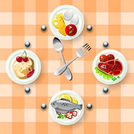 Visionner avec le repas pour une alimentation saine. Quatre plaques avec des plats différents. Concept de mode de vie sain. Vector illustration sur fond orange