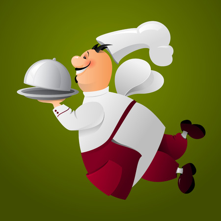 bandeja de comida: Happy smiling chef flies with a food tray. Delivery food. Vector illustration on green background