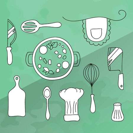 Set of kitchen utensils for cooking. Icons of kitchenware white color in black lines. The food in the saucepan. Vector Illustration on a turquoise background