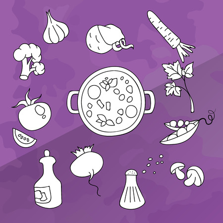 dietetic: Set of vegetables for cooking white color in black lines. The products in the saucepan. Vegetarian menu, dietetic food and healthy lifestyle. Vector Illustration on a purple background Illustration