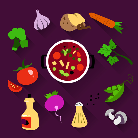 dietetic: Set of vegetables for cooking. The products in the saucepan. Vegetarian menu, dietetic food and healthy lifestyle. Flat design vector Illustration on a violet background