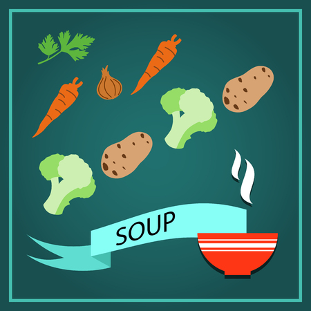 illustrati: The ingredients for cooking of vegetable soup. Recipe for vegetarian menu. Set of fresh, useful and delicious products for proper nutrition. Dietetic food and healthy lifestyle. Parsley, carrot, onion, potato and cauliflower. Flat design vector Illustrati