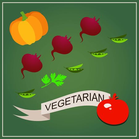 dietetic: Vegetarian concept. Dietetic food and healthy lifestyle. Set of fresh, useful and delicious vegetables for proper nutrition. Pumpkin, beetroot, pea, parsley and tomato. Flat design vector Illustration on a green background Illustration