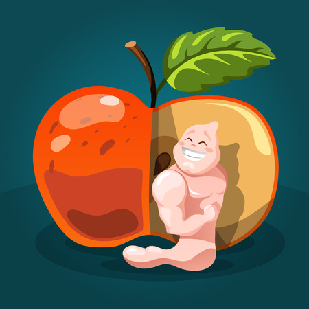 Health care concept. Apple and worm with strong arms